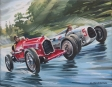 Alfa Romeo P3 vs Auto Union type C - oil on canvas