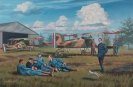 The SPA 48 squadron takes a rest - oil on canvas