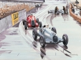 Grand Prix de Monaco 1936, Carraciola et Nuvolari - aquarelle