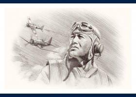 Greg Pappy Boyington portrait carte postale