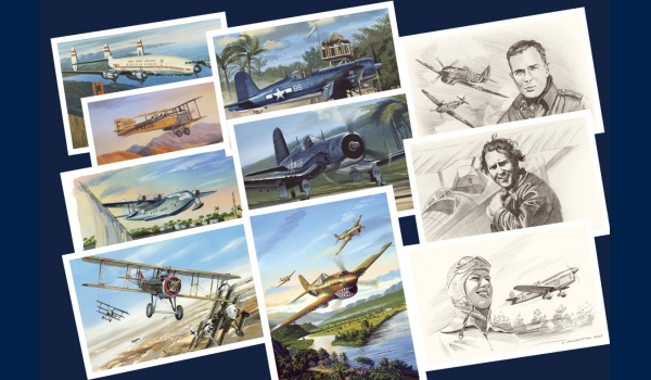 Pack de 55 cartes postales aviation